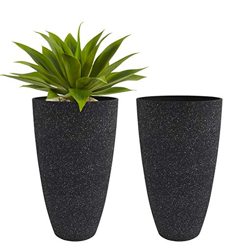 Tall Planters Outdoor Indoor - Specked Black Flower Plant Pots,...