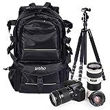UNHO Sac à Dos pour Appareil Photo Reflex en Nylon Étanche Sac Caméra Professionnel Antichoc pour Canon Nikon DSLR SLR Pentax