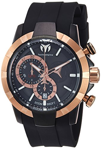 Technomarine Men's UF6 Stainless Steel Quartz Watch with Silicone Strap, Black, 29 (Model: TM-615014)
