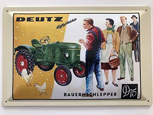 Blechschild 30 x 20 cm Traktor - Deutz Bauernschlepper D15 - Deko7