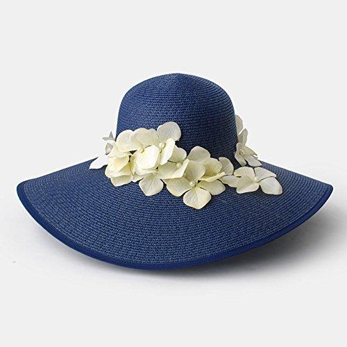 WYYY Chapeau Dame Chapeau De Soleil Pétales Fabriqué À La Main par Le Travers Protection Contre Le Soleil (Couleur : Tibetan Blue)