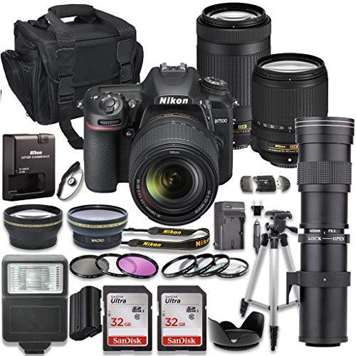 Nikon D7500 DSLR Camera with AF-S 18-140mm VR Lens & Nikon AF-P 70-300mm ED Lens Bundle + 420-800mm MF Zoom Telephoto Lens + 2pc SanDisk 32GB Memory Cards + Accessory Kit