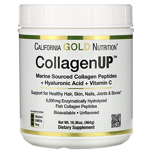 California Gold Nutrition, Collagen UP 5000, Marine-Sourced Collagen Peptides + Hyaluronic Acid + Vitamin C, 16.36 oz , Milk-Free, Egg-Free, Gluten-Free, Peanut Free, Treenut Free, Shellfish Free, CGN