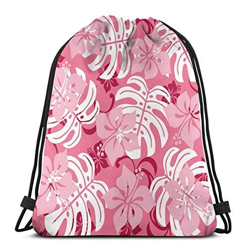 Hangdachang Hibiskusblume mit Monstera-Blättern, Regenwaldpflanzen, frische Natur-Motiv, verstellbarer Kordelverschluss, bedruckter Kordelzug, Rucksäcke