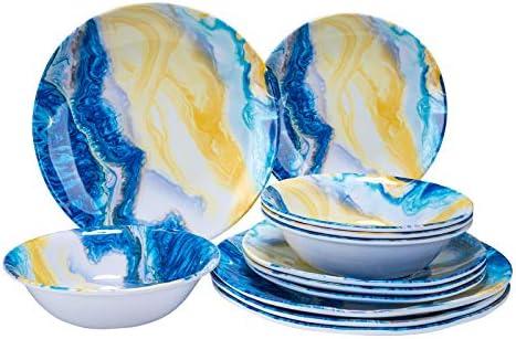 Melamine Dinnerware Set 12 piece for 4 Plastic Landscape Painting Blue Plastic Plate Bowl Set product image