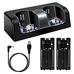 professional Wii remote charging station, dual charger dock with 2 battery LED indicators …