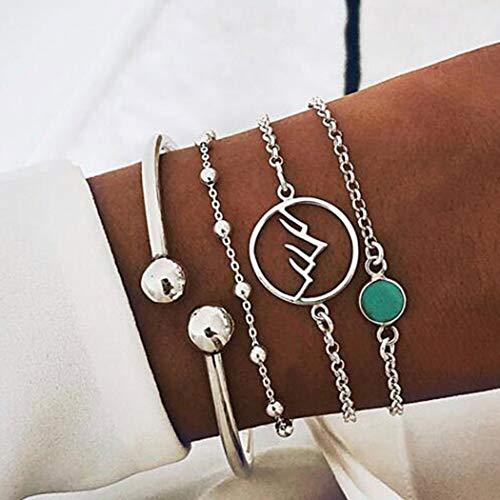 Yean Boho - Pulsera con capas de alambre abierto, pulsera de cuentas de plata, cadena ajustable para la mano, joyería turquesa para mujeres y niñas, 4 unidades