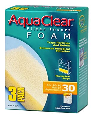 Aquaclear A1392 30-Gallon Foam Inserts,Black, 3-Pack