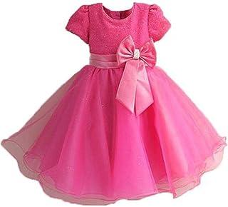 GFDGG キッズプリンセスパーティードレスチュールウェディング花嫁介添人洗礼用ドレス(3-8歳)女の子プリンセスドレス (色 : ローズレッド, サイズ : 6/110cm)