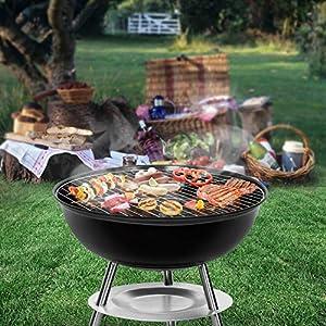 Sunjas Holzkohlegrill mit Deckel, Kleiner Kugelgrill, Mini Picknick Grill, emaillierter Campinggrill für Garten, BBQ usw. (Schwarz)