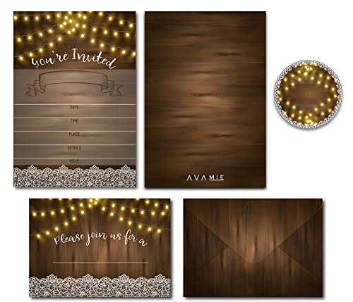 Avamie 20 Pack Rustic Fill-In Invitations with Envelopes and Stickers, All-Purpose Invitations for All Occassions, Wedding, Engagement, Rehearsal Dinner, Baby Shower, Bridal Shower, Birthday, Party