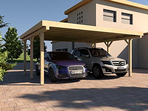 Carport Flachdach AVUS I 500 x 500 cm KVH Bausatz Konstruktionsvollholz Fichte
