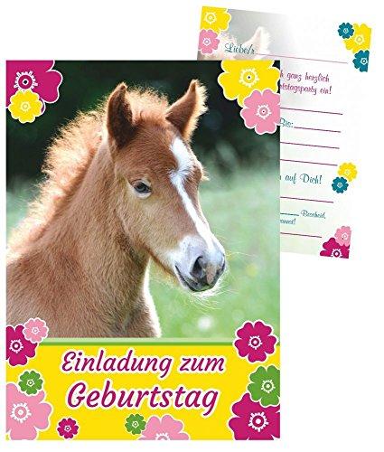 8 Einladungskarten für Kindergeburtstag - süßes Fohlen - Pferd mit vorgedrucktem Einladungstext
