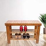 YF-SURINA Zapato Bambú, 3 Niveles Multifuncional Zapato de Madera Banco de Alenamiento de Zapatos Organizador de Alenamiento de Zapatos para Pasillo, Baño, Sala de Estar 69X 27X 45 cm Fanjiani