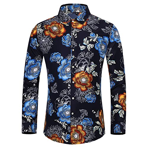 Katenyl Camisa Estampada de Moda para Hombre, Moda de Gran tamaño, Personalidad, Color de Contraste, Solapa clásica, Ajuste Regular, Camisa con Botones, Parte Superior 6XL