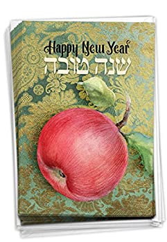 Shana Tova Greetings - 12 Jewish Happy New Year Cards with Envelopes  4.63 x 6.75 Inch  - Rosh Hashanah Boxed Notecard Set C6135BRHG-B12x1