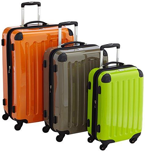 HAUPTSTADTKOFFER - Alex - 3er Koffer-Set Hartschale glänzend, (S, M & L), 235 Liter, Apfelgrün-Titan-Orange