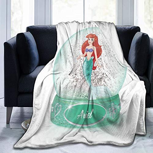 Manta de forro polar de Princesa Ariel de franela mullida para dormitorio, decoración suave y acogedora