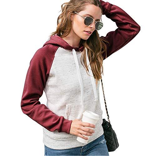 WYZTLNMA Womens Casual Hoodies Sweatshirt Patchwork Ladies Hooded Blouse Pullover Tops Vintage Streetwear Winter Pocket Jacket Red