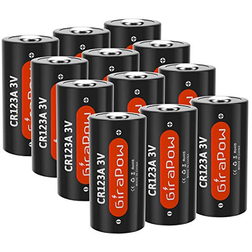 CR123A 3V 123 Lithium Battery, Girapow 123A CR123 1600mAh Batteries for Arlo Camera VMS3230, Flashlight, Smoke Detector, Photo Camera, Door Sensor, 12-Count [Single Use]