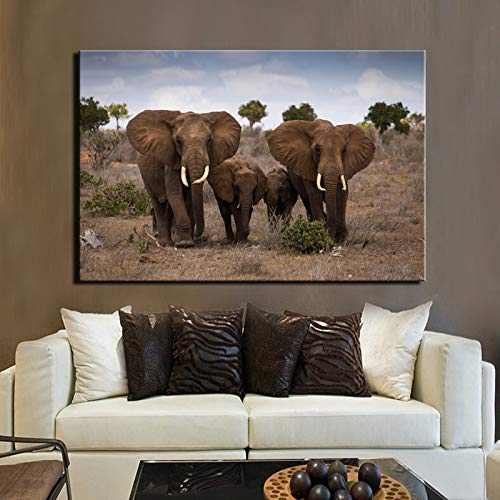 N / A Prateria Africana Paesaggio Arte Pittura Poster e Stampe murali Pittura Elefante Foto Famiglia Decorazione murale No Frame 50x70cm