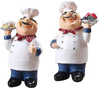 Perfk 2pcs Creative Handcraft Resin Chef Figurines Kitchen/Restaurant Ornament