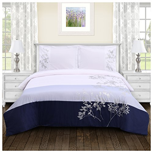 Superior 100% Soft, Breathable Cotton Sydney Embroidered Duvet Cover 3 Piece Bedding Set; King/California King – Sky Blue