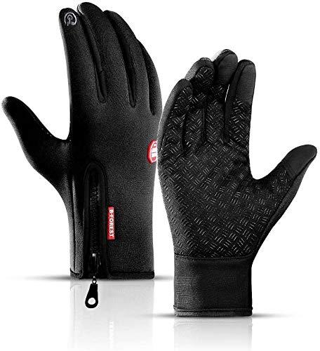 Guanti da ciclismo unisex, con touch screen, impermeabili, antivento, termici, in silicone, antiscivolo, per ciclismo, guida, campeggio, pesca - L