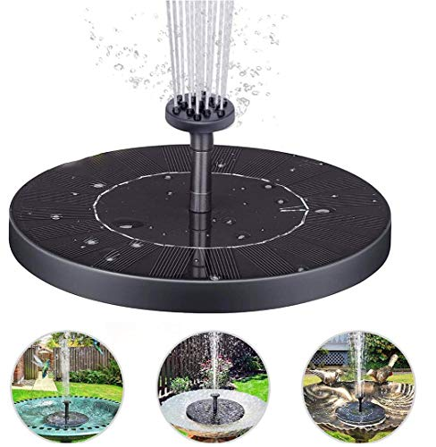 PECHTY Solar Springbrunnen, 190 L/H Solar Teichpumpe, Solarpumpe Outdoor Wasserpumpe mit 6 Fontänenstile für Gartendekoration, Teich, Aquarium, Pool, Vogelbad