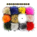 Fluffy Faux Raccoon Fur Pompoms with Press Button for Knitting Hat Garment Accessories 6 Inches Pack of 12 (Mixed Colors)