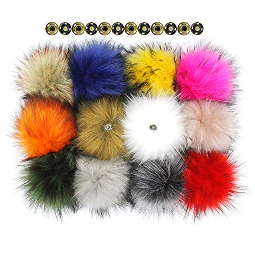 Furling Pompoms 12pcs Fluffy Faux Raccoon Fur Pompoms with Press Button for Knitted Hats Scarves Accessories 5.5 Inches (Mixed Colors)