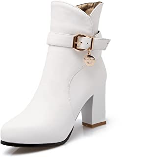Womens Pu Buckle Solid Low-Top High-Heels Round Closed Toe Boots, White-Charms, 41