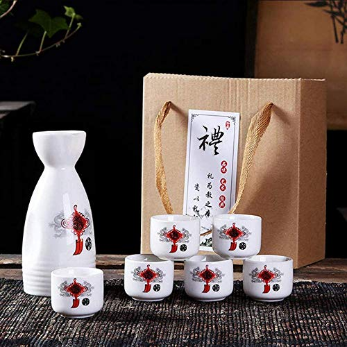 rzoizwko Juego de Sake, Juego de 7 Copas de Vino de cerámica pintoresca, Juego de Bebida Saki Caliente de cerámica Japonesa Tradicional de Porcelana, para frío/Caliente/Shochu/t