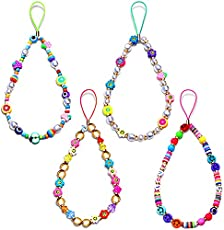 Beaded Phone Charm Lanyard Wrist Strap for Women Girls, Colorful Polymer Clay Fruit Smiley Beads Phone Chain String Cute Y2K Phone Accessory Camera Car Key Decorations (4PCS Multicolor)