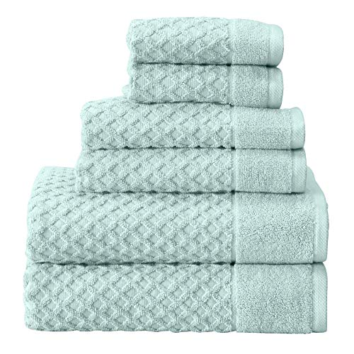 Great Bay Home 100% Cotton Bath Towels, Luxury 6 Piece Set - 2 Bath Towels, 2 Hand Towels and 2 Washcloths. Absorbent Quick-Dry Textured Towels. Grayson Collection (6 Piece Set, Pastel Blue)