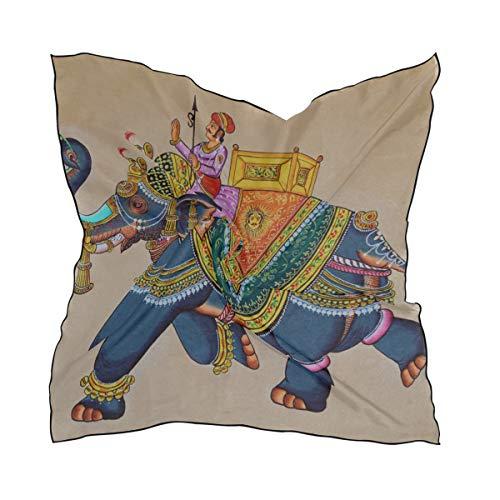 Pañuelo de seda de raso cuadrado Seda Bufanda india tradicional Rajasthani Pintura de pared Elefante Patrón de moda Bufanda de seda...