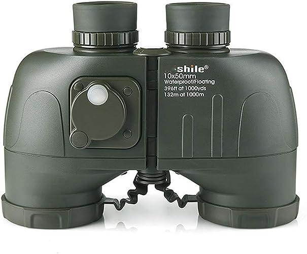 ACZZ Jumelles, haute définition HD 10X50, boussole, étanches, lunettes de faible luminosité, nautiques, légères, tenues à la main