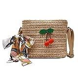 Pequeños bolsos de hombro de paja Mujeres Cherry Decor Crossbody Top Handle Bolsos