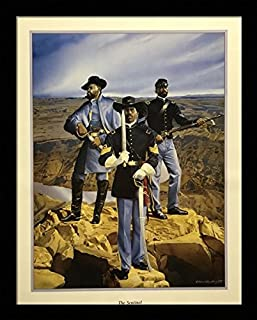 Black 1.5 inch Framed with The Sentinel, (Buffalo Soldier/African American Black Art / 3 (I) - 22x28-25) 22x28 Inch Edward Clay Wright, Art Print & Poster