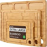 Bamboo Cutting Boards for Kitchen, (Set of 3) Kitchen Chopping Board with 3 Built-In Compartments...