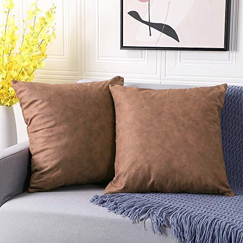 Artscope 2er Set weichen Faux Leder Kissenbezug Dekorativen Quadratisch Kissenhülle Moderne Minimalist Kissen Fall für Sofa Schlafzimmer 45x45cm (Braun)