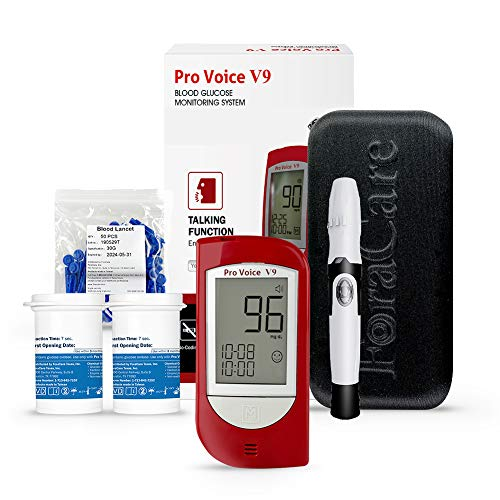 FORA Pro Voice V9 Diabetes Testing Kit for Accurate and Easy Monitoring Your Blood Glucose with Talking Glucometer, 1 Meter, 100 Test Strips, 100 Lancets, 1 Painless Design Lancing Device, Carry Case