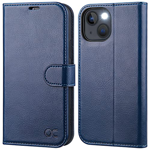 OCASE iPhone 13 Hülle Handyhülle [Premium PU Leder] [Kartenfach] [Magnetverschluss] RFID Schutzhülle Klapphülle Handytasche Lederhülle Flip Hülle Cover Tasche Etui Kompatibel für iPhone 13 Blau
