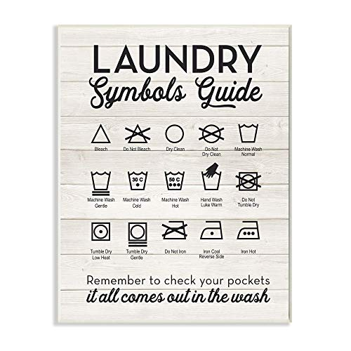 Stupell Home Décor Laundry Symbols Guide Typography Wall Plaque Art, 10 x 0.5 x 15, Proudly Made in USA