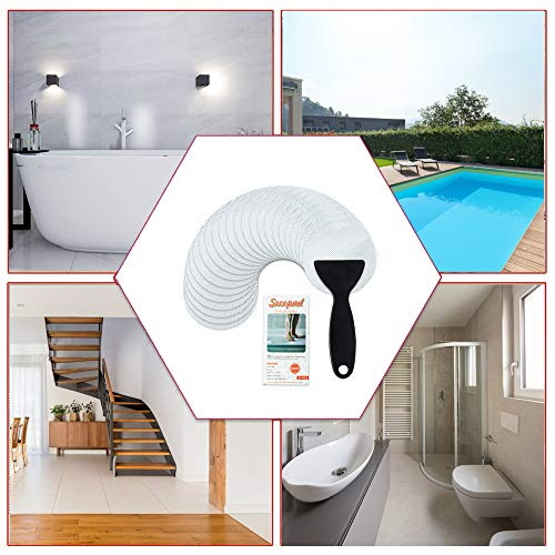 Secopad Non-Slip Bathtub Stickers, 24 PCS Safety Bathroom Tubs Showers Treads Adhesive Decals with Scraper