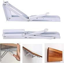 Accessbuy Folding Shelf Bracket Stainless Steel Triangle Wall Mount Support White Heavy Duty Shelf Brackets 2 PCS (8 inch)