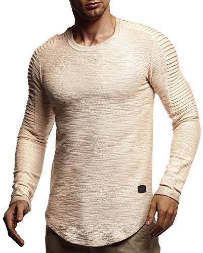 Leif Nelson Herren Langarmshirt Pullover Rundhals-Ausschnitt Slim Fit Männer Pulli Sweatshirt Langarm Crew Neck Hoodie-T-Shirt Langarm in schwarz LN6326; Größe XL, Beige
