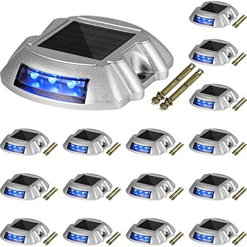 Happybuy Driveway Lights 16 Pack Solar Driveway Lights Bright Blue with Screw Solar Deck Lights product image