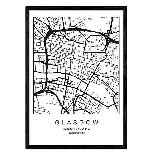 Kaart afdrukken Glasgow City Scandinavische stijl in zwart en wit. Posterframe op A3-formaat Het bedrukte papier Geen 250 gr. Schilderijen, prints en posters voor woonkamer en slaapkamer