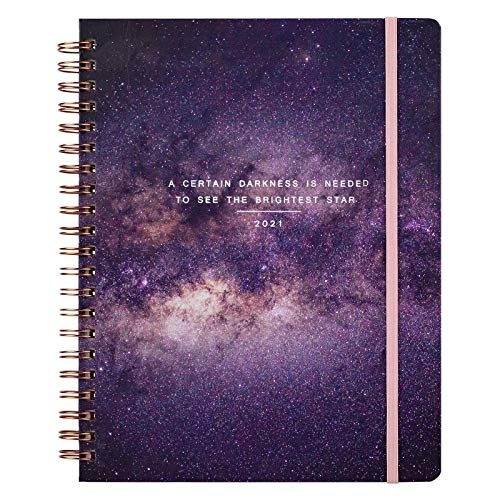 HHYSPA 2021 Planner - Academic Weekly & Monthly Planner with Flexible Hardcover, Jan 2021 to Dec, 7' x 8.5', Flexible Hardcover, Strong Twin Wire Binding StarrySky